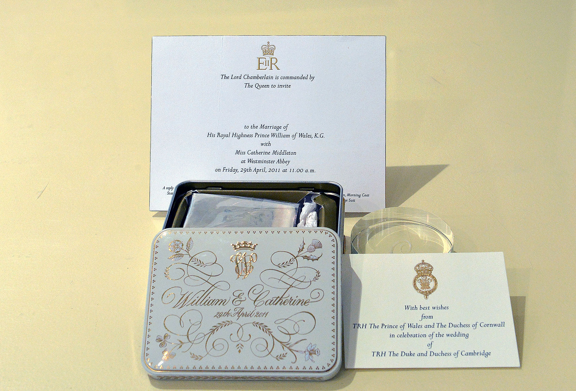 A boxed slice of royal wedding cake from the 2011 wedding of Prince William and Kate Middleton